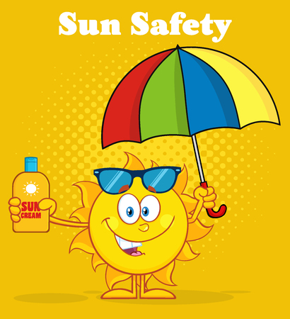 sun block: Cute Sun Character Holding A Umbrella And Bottle Of Sun Block Cream. Illustration With Yellow Halftone Background And Text Sun Safety