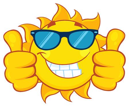 Lachende Zon Cartoon mascotte karakter met een zonnebril met een dubbele thumbs up Stockfoto