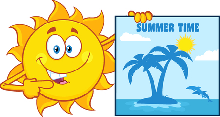 summer sign: Talking Sun Cartoon Mascot Character Pointing To A Poster Sign With Tropical Island And Text Summer Time