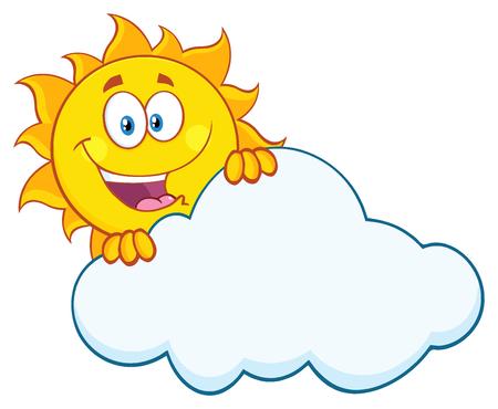 Carattere felice del fumetto Estate Sun mascotte nasconde dietro Nube