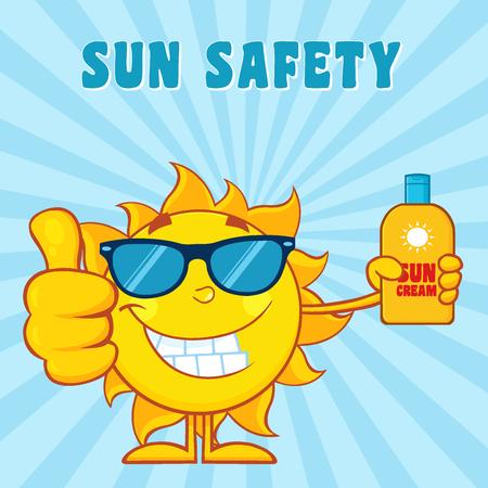sun block: Smiling Summer Sun Cartoon Mascot Character Holding A Bottle Of Sun Block Cream. Illustration With Blue Sunburst Background And Text Sun Safety