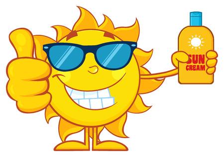 스마일 여름 태양 만화 마스코트 캐릭터 태양 블록 크림의 병을 들고 엄지 손가락을 보여주는 스톡 콘텐츠