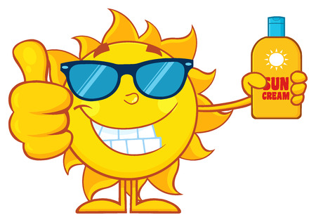 Glimlachende Zomerzon Cartoon Mascotte Karakter In De Holding Een Fles Zonblokjescreme Met Duim Omhoog Stockfoto