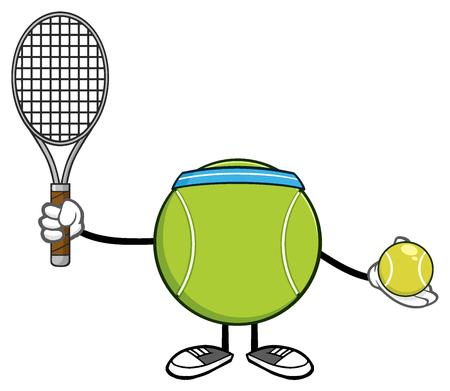 bounce: Tennis Ball Faceless Player Cartoon Mascot Character Holding A Tennis Ball And Racket Stock Photo