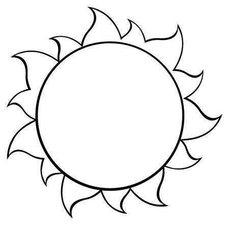 Black And White Simple Sun. Illustratie Op Een Witte Achtergrond Stockfoto