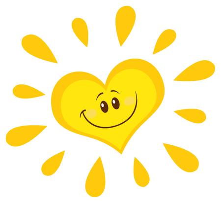sole: Sorridente Sun Cuore del fumetto del carattere della mascotte. Illustrazione isolato su sfondo bianco