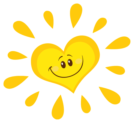 słońce: Uśmiechnięta Słońce Serca Cartoon Mascot Character. Ilustracja Samodzielnie Na Białym Tle