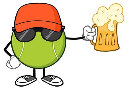 Tennis Ball Faceless Cartoon Mascot Karakter met hoed en zonnebril bedrijf een biertje. Illustratie Op Een Witte Achtergrond