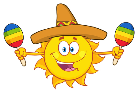 Happy Colorful Sun Cartoon Mascot Character With Sombrero Hat Playing Maracas. Illustration Isolated On White Background