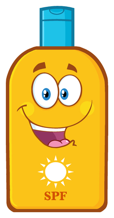 sunscreen: Happy Bottle Sunscreen Cartoon Mascot Character With Sun And Text SPF