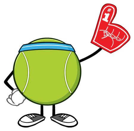 Tennis Ball Faceless Cartoon Mascot Character Wearing A Foam Finger