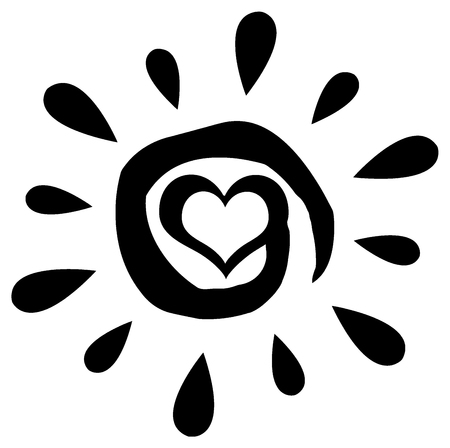 heart burn: Black Abstract Sun Silhouette With Heart Simple Design
