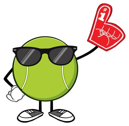 bounce: Tennis Ball Faceless Cartoon Mascot Character With Sunglasses Wearing A Foam Finger