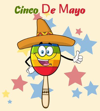 親指をあきらめソンブレロ帽子と幸せのカラフルなメキシコ マラカス漫画マスコット キャラクター。背景とテキスト シンコ ・ デ ・ マヨの図