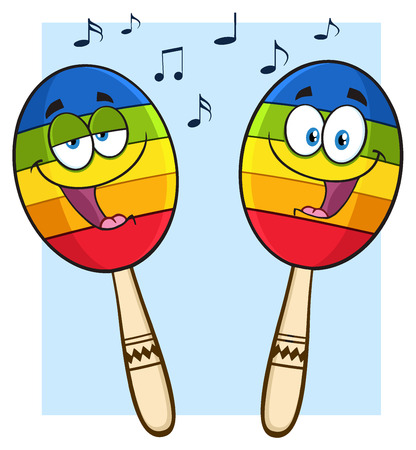 mexican background: Two Colorful Mexican Maracas Cartoon Mascot Characters Singing. Illustration Isolated On White Background With Notes Stock Photo