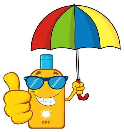 Smiling Bottle Sunscreen Cartoon Mascot Character With Sunglasses And Umbrella Giving A Thumbs Up