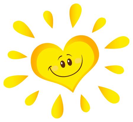 Smiling Sun Heart Cartoon Mascot Character In Gradient