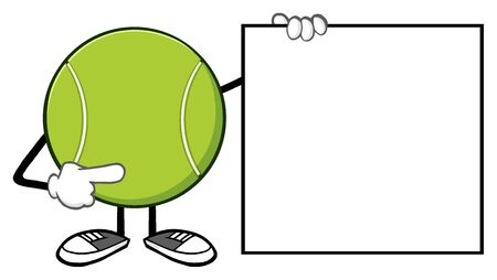 bounce: Tennis Ball Faceless Cartoon Mascot Character Pointing To A Blank Sign Banner