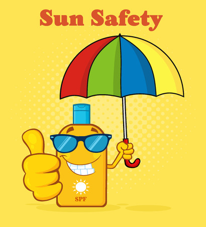 Smiling Bottle Sunscreen Cartoon Mascot Character With Sunglasses And Umbrella Giving A Thumbs Up. Illustration Halftone Background And Text Sun Safety