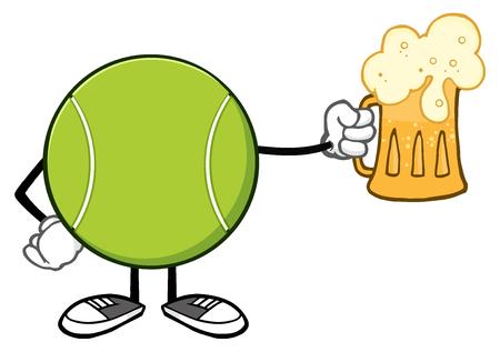 Tennis Ball sem cara dos desenhos animados Mascote Caráter com uma cerveja Banco de Imagens