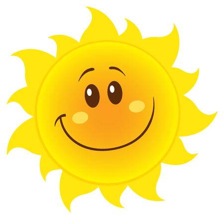 笑みを浮かべての単純な黄色の太陽漫画マスコット キャラクター。白い背景で隔離の図
