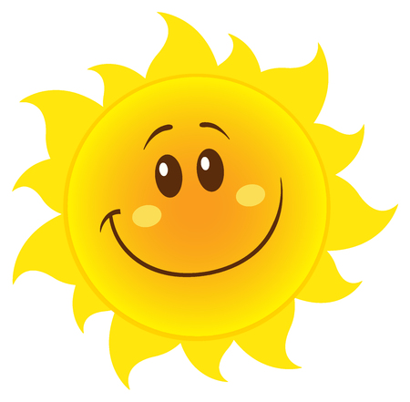 positive energy: Smiling Yellow Simple Sun Cartoon Mascot Character. Illustration Isolated On White Background