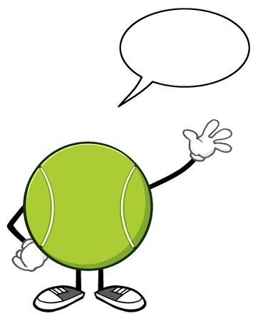 Tennis Ball Faceless Cartoon Mascot Character Waving With Speech Bubble