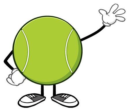 bounce: Tennis Ball Faceless Cartoon Mascot Character Waving
