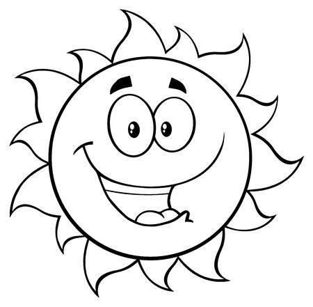 Schwarzweiß Happy Sun-Karikatur-Maskottchen-Buchstaben. Illustration isoliert auf weißem Hintergrund