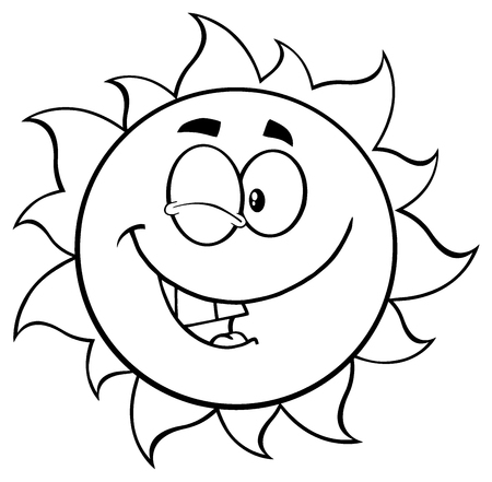 sun energy: Black And White Winking Sun Cartoon Mascot Character. Stock Photo