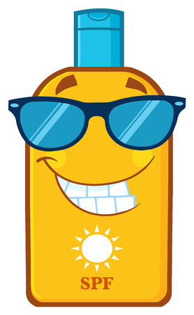 Smiling Bottle Sunscreen Cartoon Mascot Character With Sunglasses Sun And Text SPF