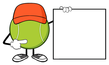 Tennis Ball Faceless Cartoon Mascot Character Pointing To A Blank Sign Banner