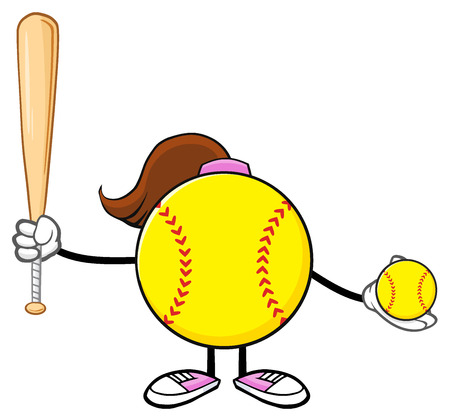 fast pitch: Softball Girl Faceless Cartoon Mascot Character Holding A Bat And Ball