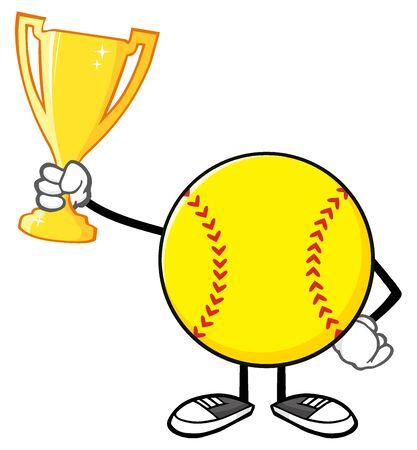 faceless: Softball Faceless Cartoon Character Holding A Trophy Cup Stock Photo