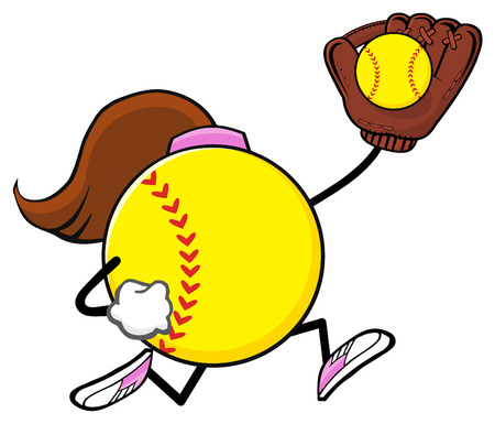 fast pitch: Softball Faceless Girl Player Cartoon Mascot Character Running With Glove And Ball
