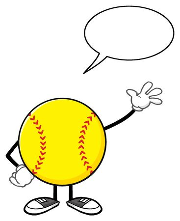 Softball Faceless Cartoon Mascot Character Waving For Greeting With Speech Bubble Stock Photo