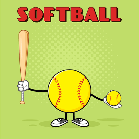 Softball Faceless Player Cartoon Mascot Character Holding A Bat And Ball. Illustration With Green Halftone Background And Text Softball Stock Photo