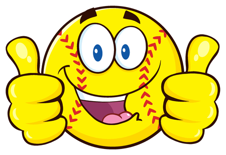 Happy Softball Cartoon Character Giving A Double Thumbs Up Stock Photo