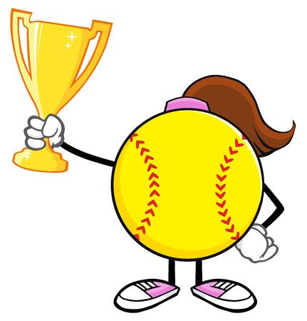 faceless: Softball Girl Faceless Cartoon Character Holding A Trophy Cup