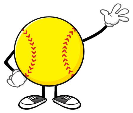 Softball Faceless Cartoon Mascot Character Waving For Greeting Stock Photo