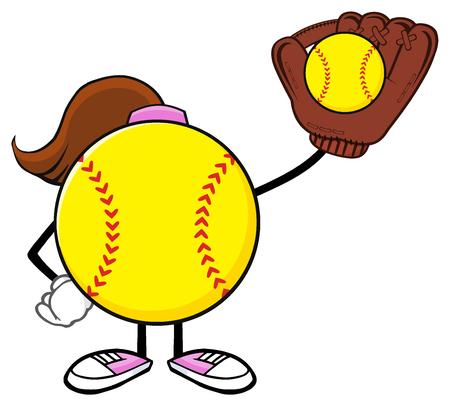 Softball Girl Faceless Cartoon Character Holding A Bat And Glove With Ball