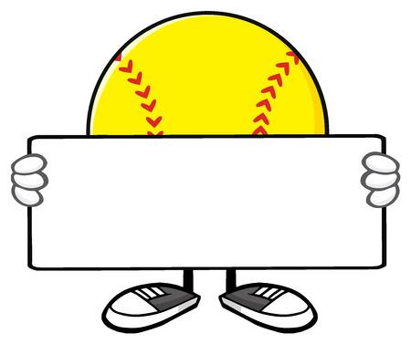 Softball Faceless Cartoon Mascot Character Holding A Blank Sign