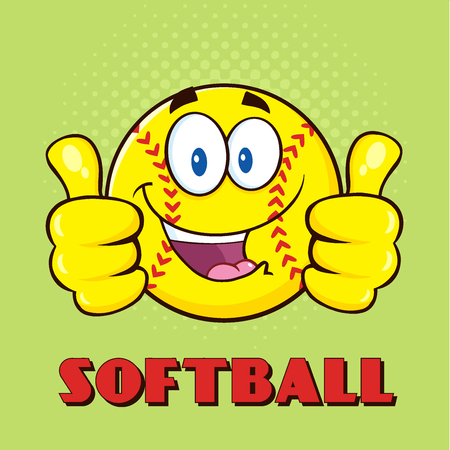 fast pitch: Happy Softball Cartoon Character Giving A Double Thumbs Up.  Illustration With Green Halftone Background And Text Softball