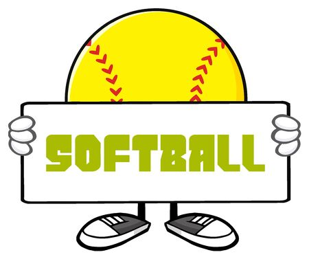 Softball Faceless Cartoon Mascot Character Holding A Sign. Illustration With Text Softball Isolated On White Background Stock Photo
