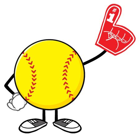 Softball Faceless Cartoon Mascot Character Wearing A Foam Finger