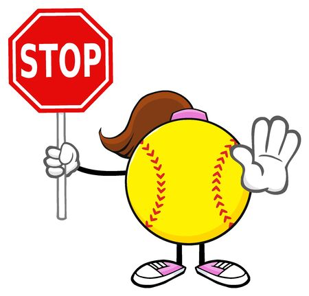 Softball Girl Faceless Cartoon Mascot Character Gesturing And Holding A Stop Sign. Illustration Isolated On White Background