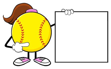 Softball Girl Faceless Cartoon Mascot Character Pointing To A Banner Blank Sign