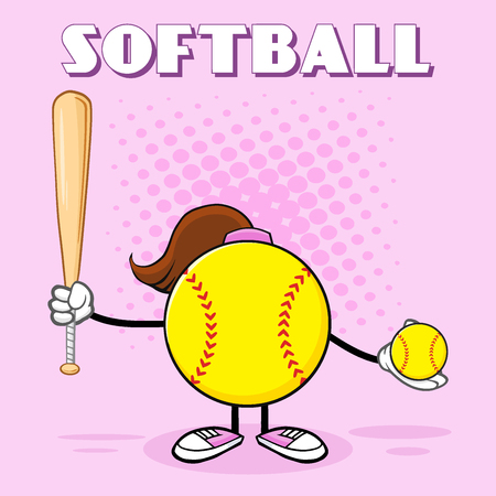 fast pitch: Softball Girl Faceless Cartoon Mascot Character Holding A Bat And Ball. Illustration With Pink Halftone Background And Text Softball Stock Photo