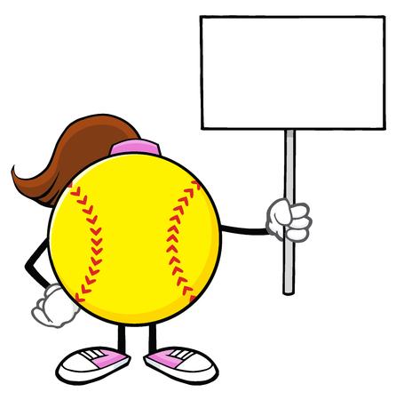 faceless: Softball Girl Faceless Cartoon Mascot Character Holding A Blank Sign