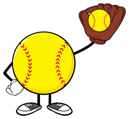 Softball Faceless Player Cartoon Character Holding A Bat And Glove With Ball Stock Photo